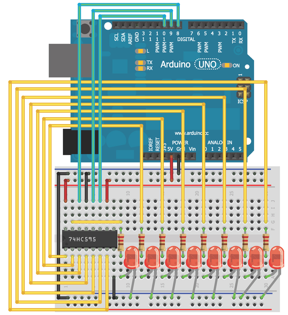 Chapter 7 Exploring Arduino Shift Register Circuit Diagram Figure 4